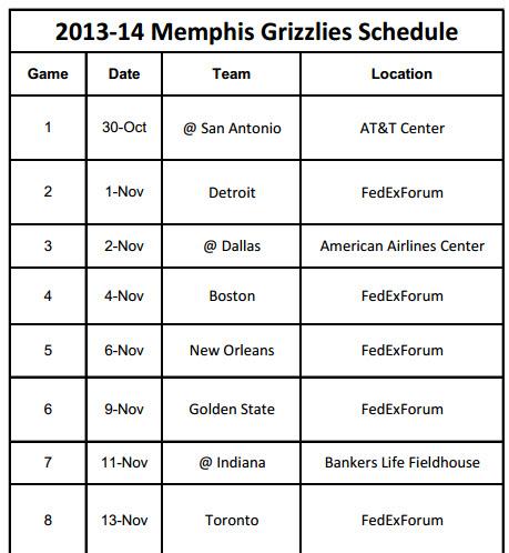 Memphis Grizzlies Schedule to Print 2013-14