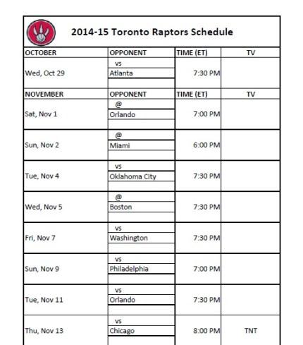 Toronto Raptors Schedule