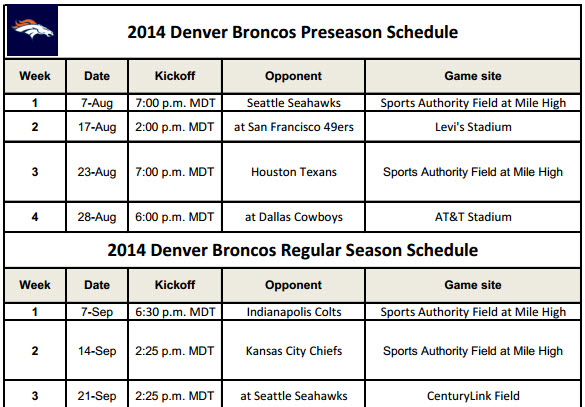 image about Denver Broncos Printable Schedule known as Denver Broncos - PrinterFriendly