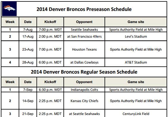 Denver Broncos 2014 Schedule for Printing