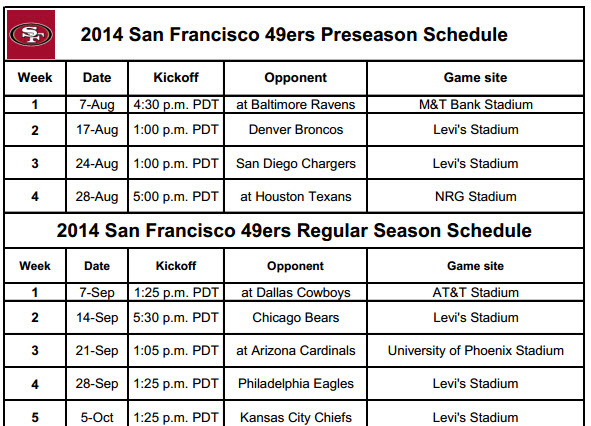 SF Niners Schedule for 2014 (Print)