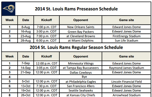 Print STL Rams NFL Schedule for 2014