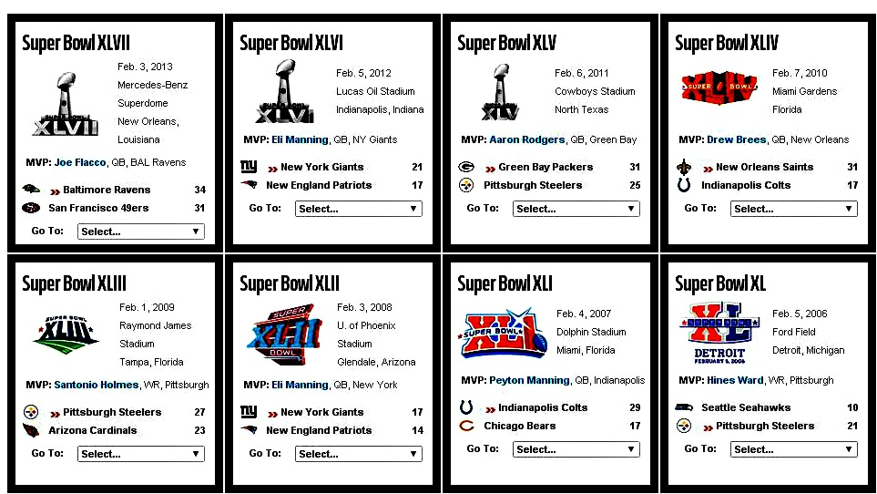 Print out Super Bowl winners