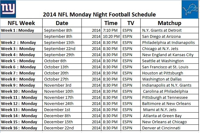 picture relating to Nfl Schedule Week 2 Printable named 2014 NFL Monday Night time Soccer Agenda - PrinterFriendly