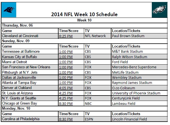 image relating to Nfl Week 17 Printable Schedule named 7 days 10 - PrinterFriendly