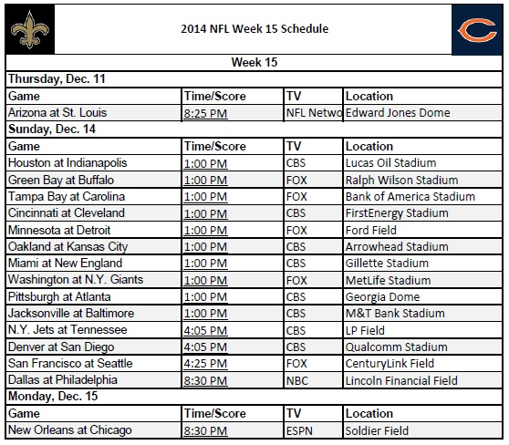 It's just a picture of Nfl Week 15 Printable Schedule with printofficepools