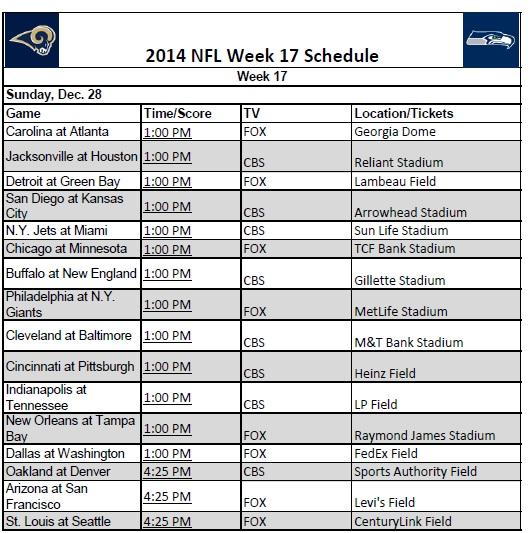 2014 NFL Week 17 Schedule