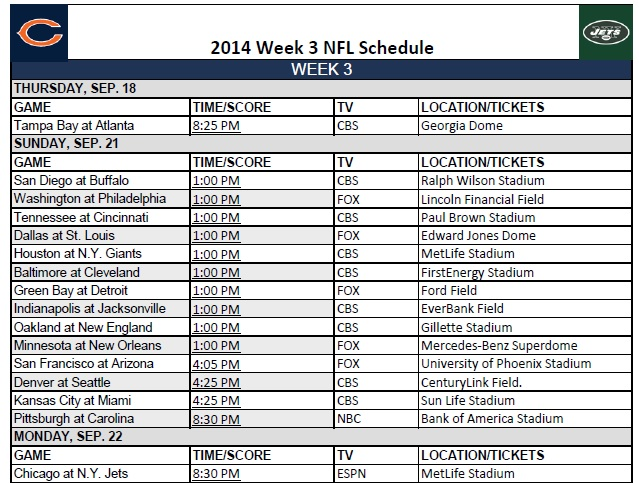 This is a picture of Candid Nfl Week 3 Schedule Printable