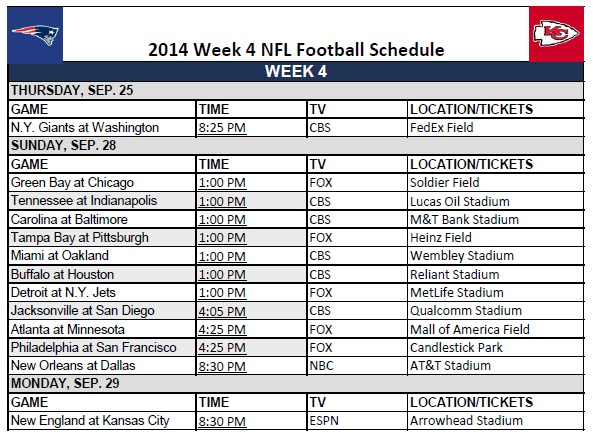 photograph relating to Nfl Week 4 Schedule Printable titled 7 days 4 - PrinterFriendly