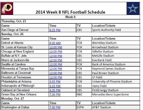 picture about Nfl Week 9 Schedule Printable named 7 days 8 - PrinterFriendly