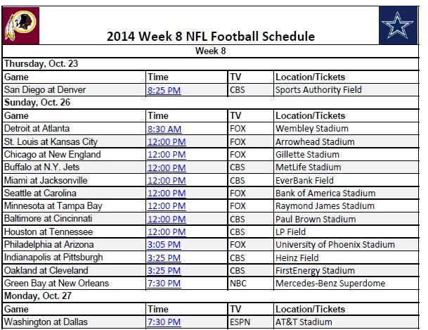 image relating to Nfl Week 17 Printable Schedule identify 7 days 8 - PrinterFriendly