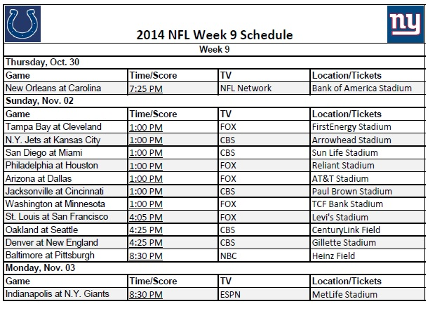 photo regarding Nfl Week 9 Schedule Printable titled 7 days 9 - PrinterFriendly