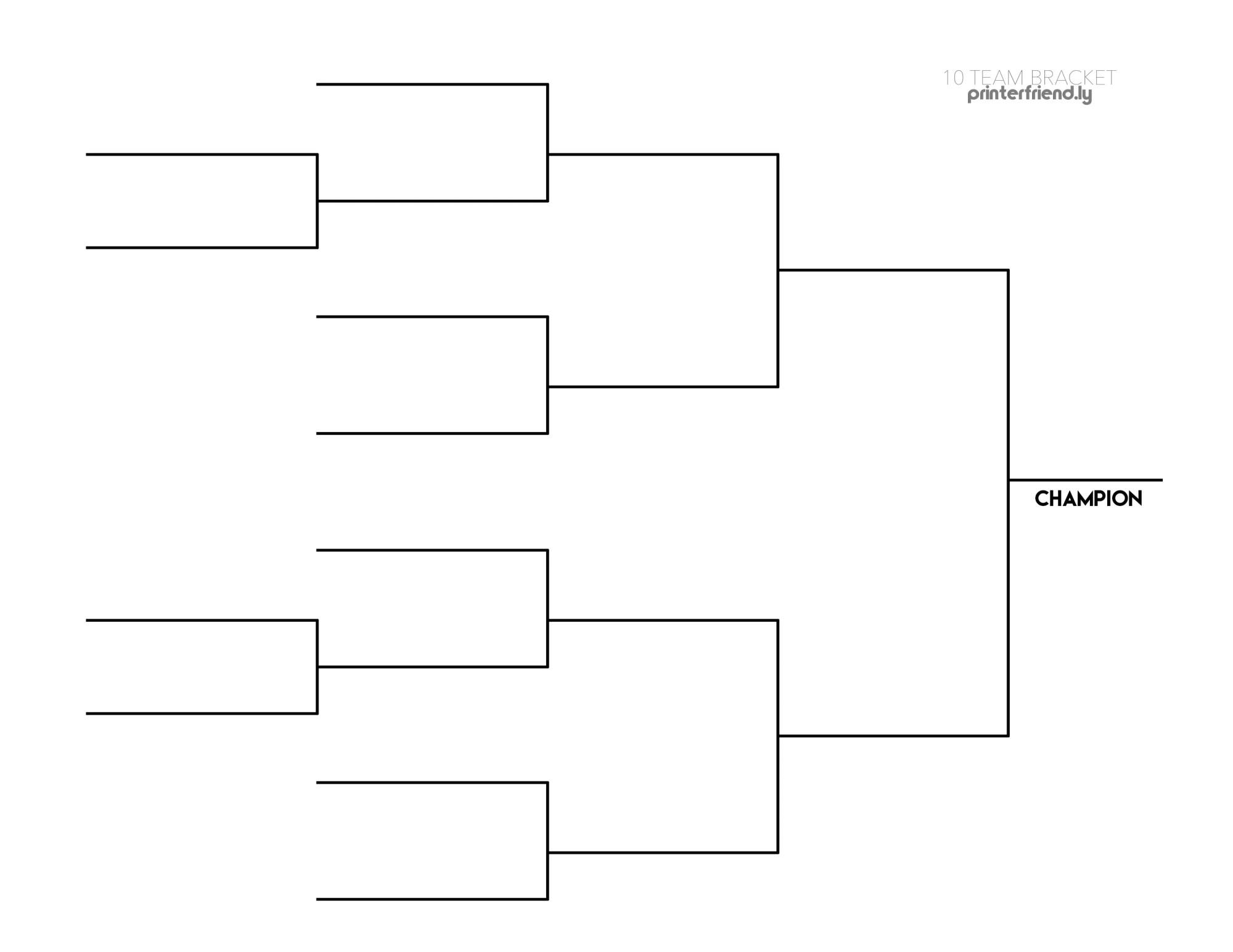 Free 10-team tournament bracket template: Printable PDF