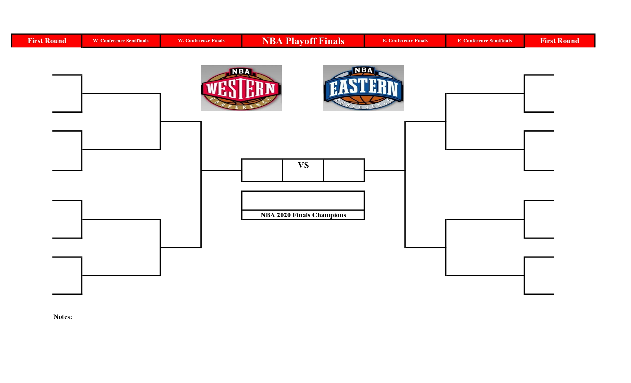 2020 Nba Playoff Bracket In Pdf To Make Your Predictions Printable Printerfriend Ly