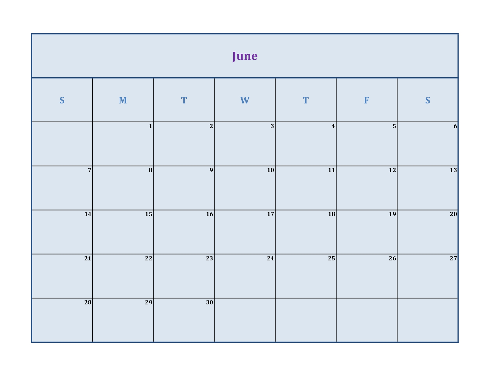 June 2020 calendar without holidays