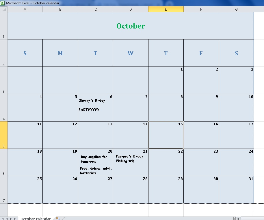 october 2020 calendar excel version