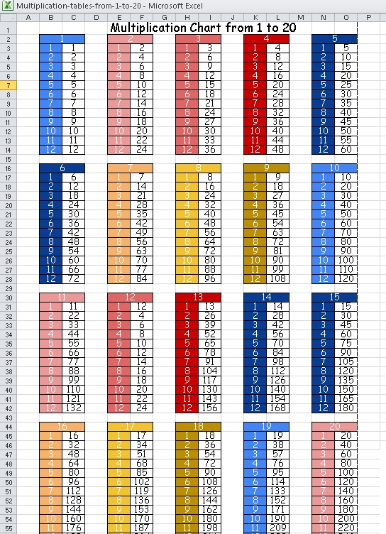 Multiplication tables from 1 to 20 excel