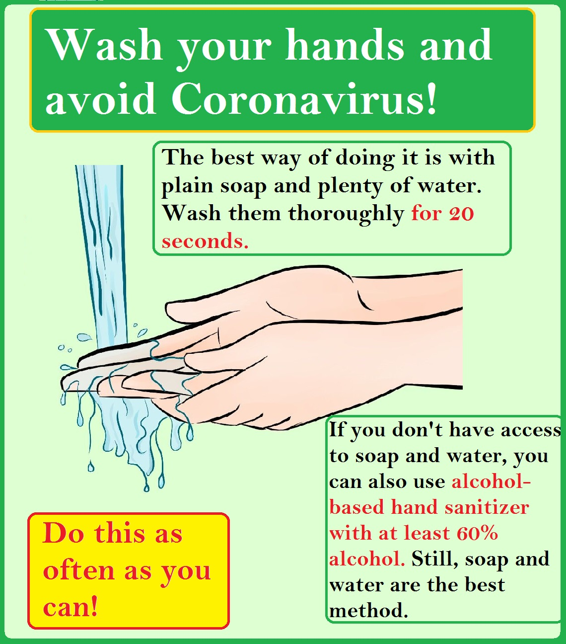 wash your hands coronavirus sign