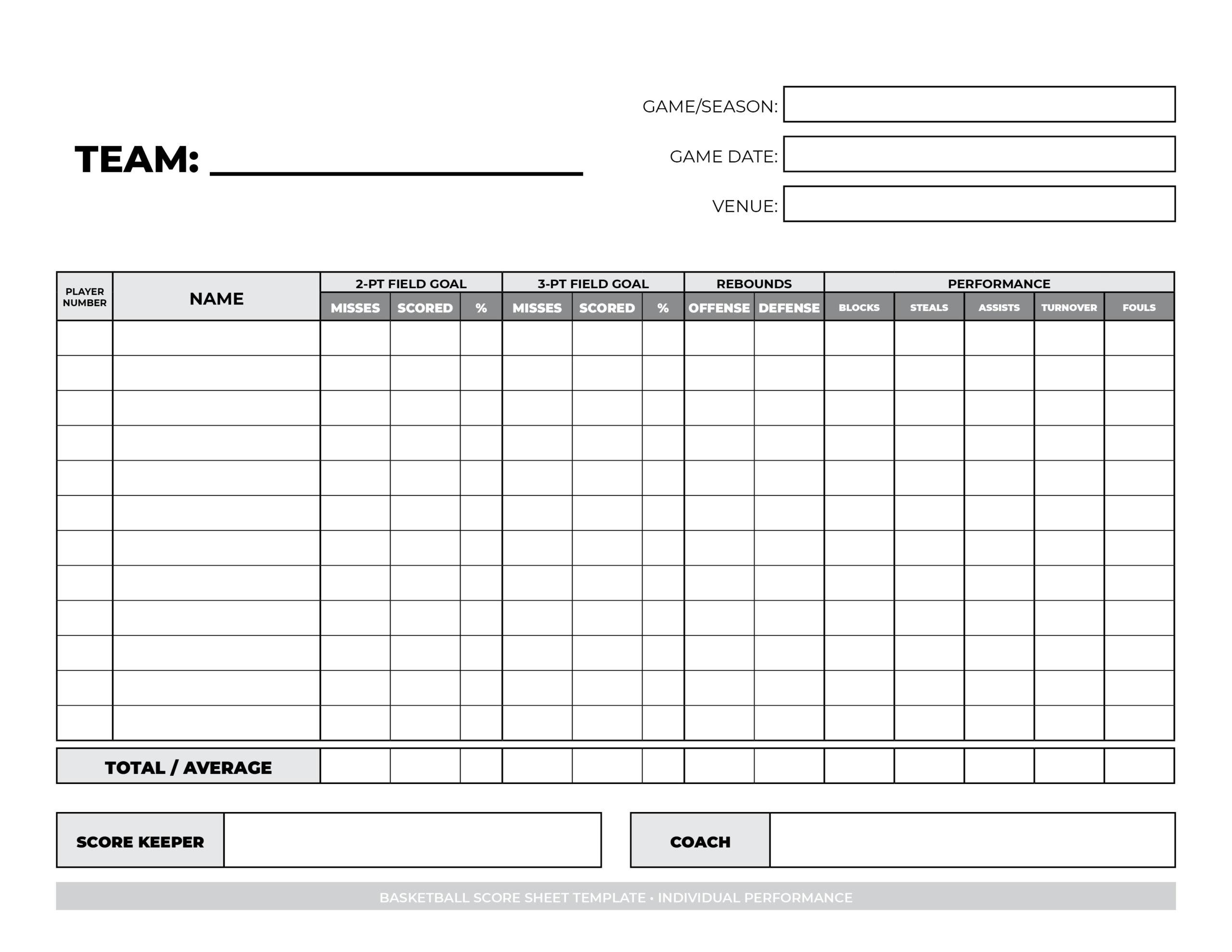 basketball score sheet for team