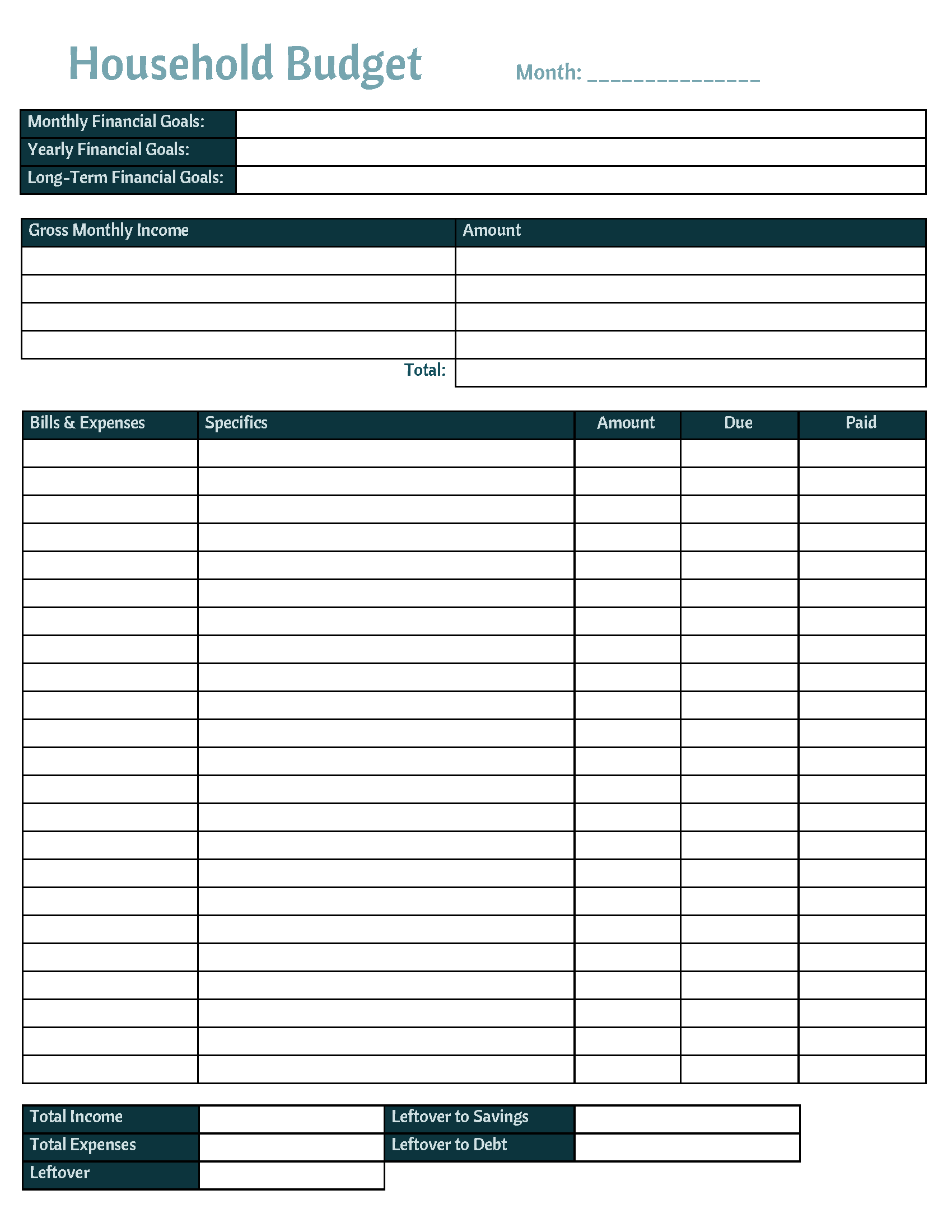 Free Printable Household Budget Tracker And Template