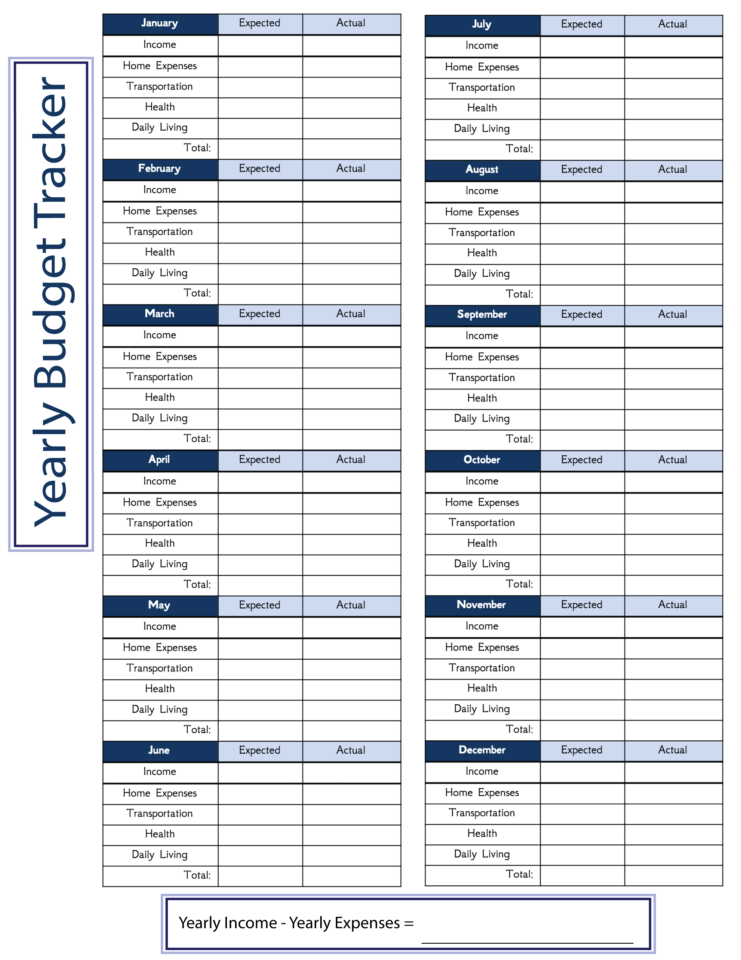 Free Downloadable Yearly Budget Worksheet In Printable