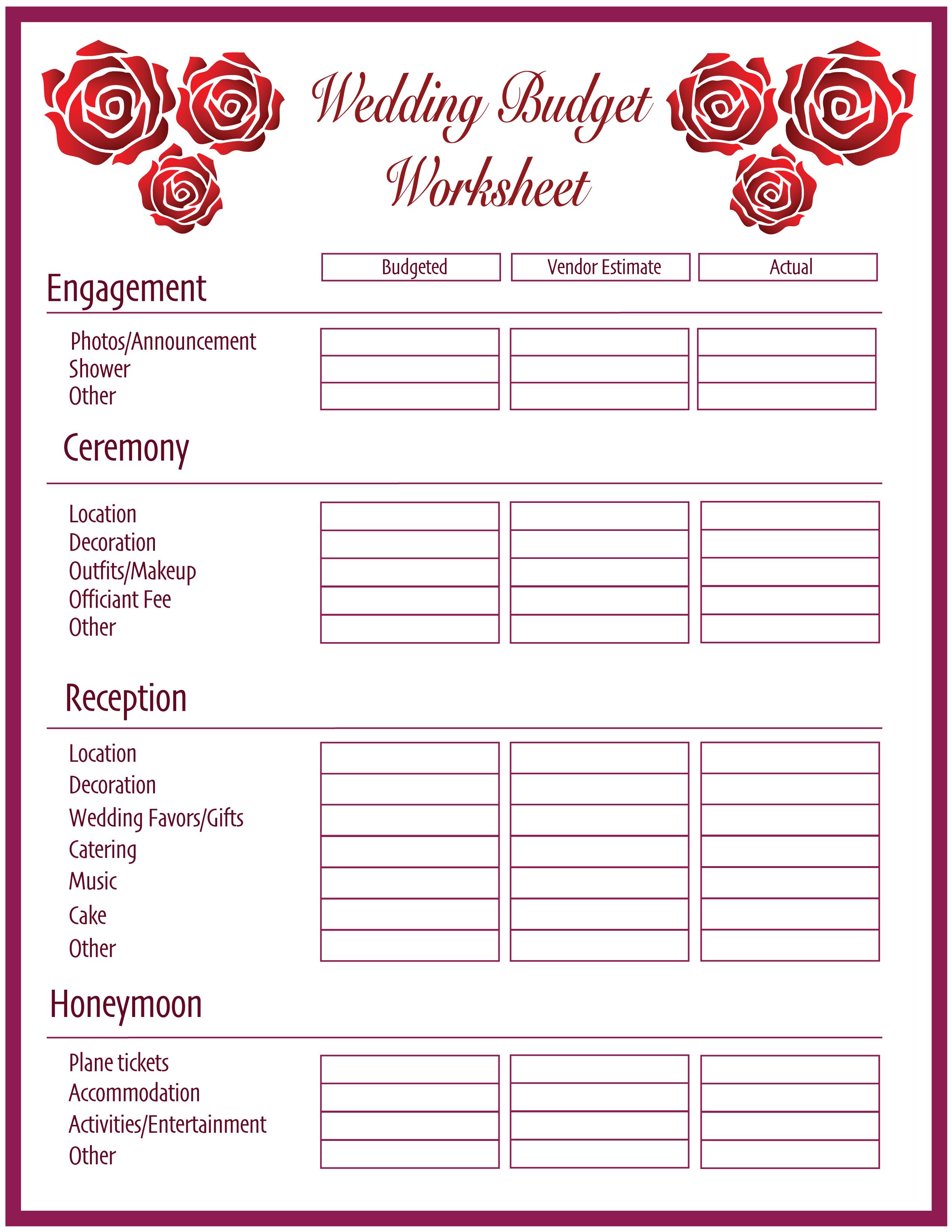 Free Printable Wedding Budget Planner And Worksheet
