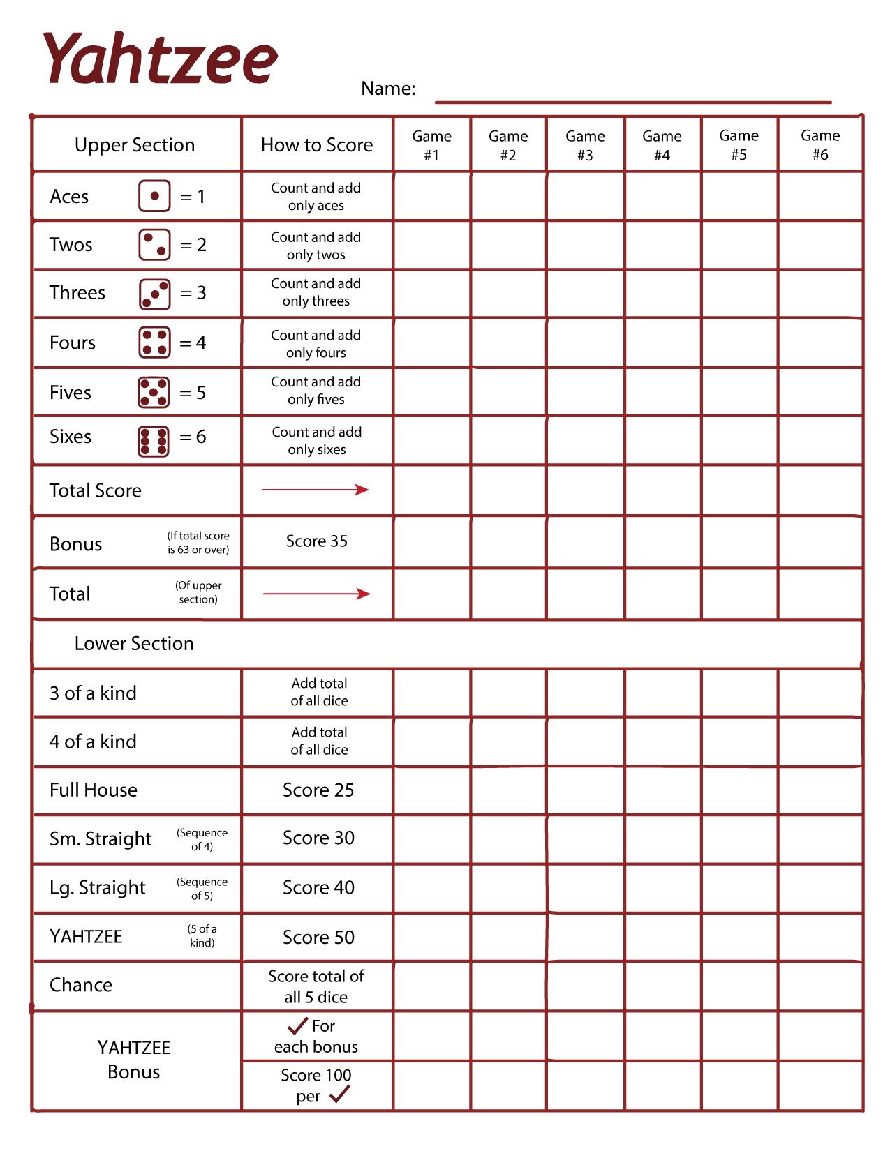 free yahtzee score cards