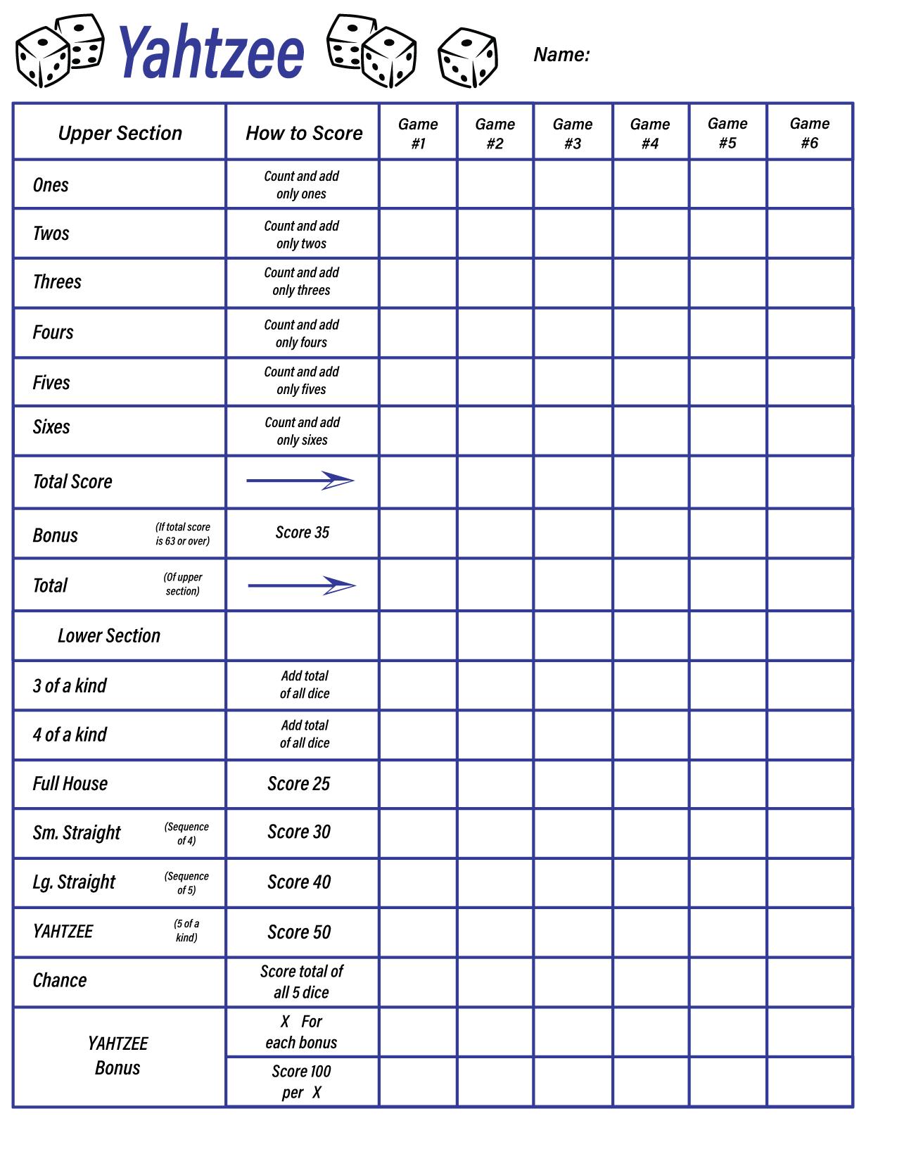 blank yahtzee score sheets to print