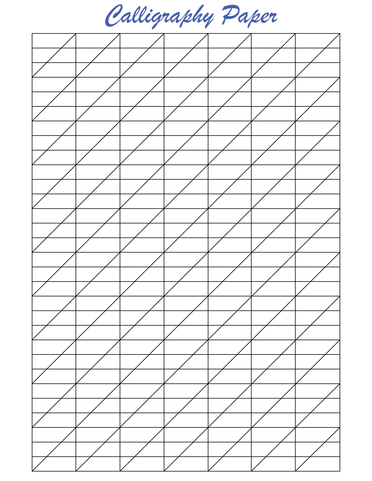 Blank calligraphy paper to print out