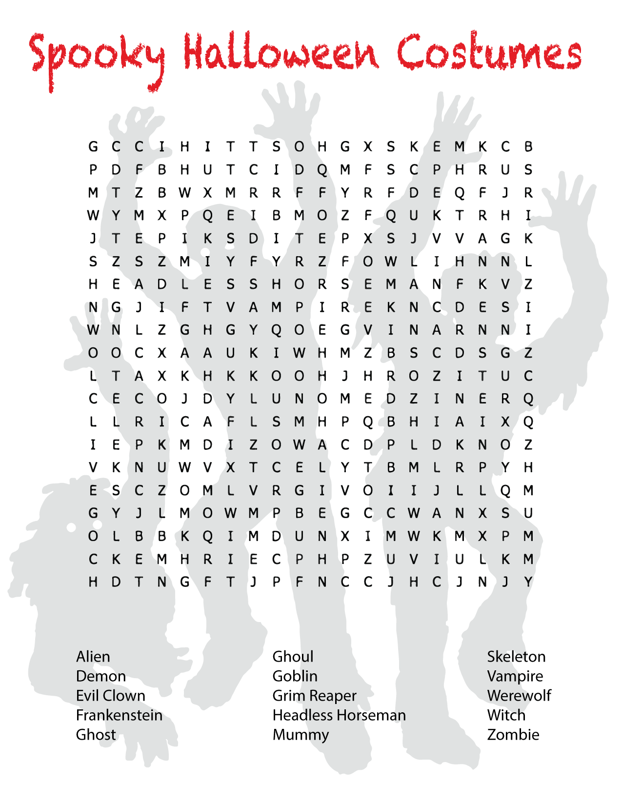 halloween costumes word search
