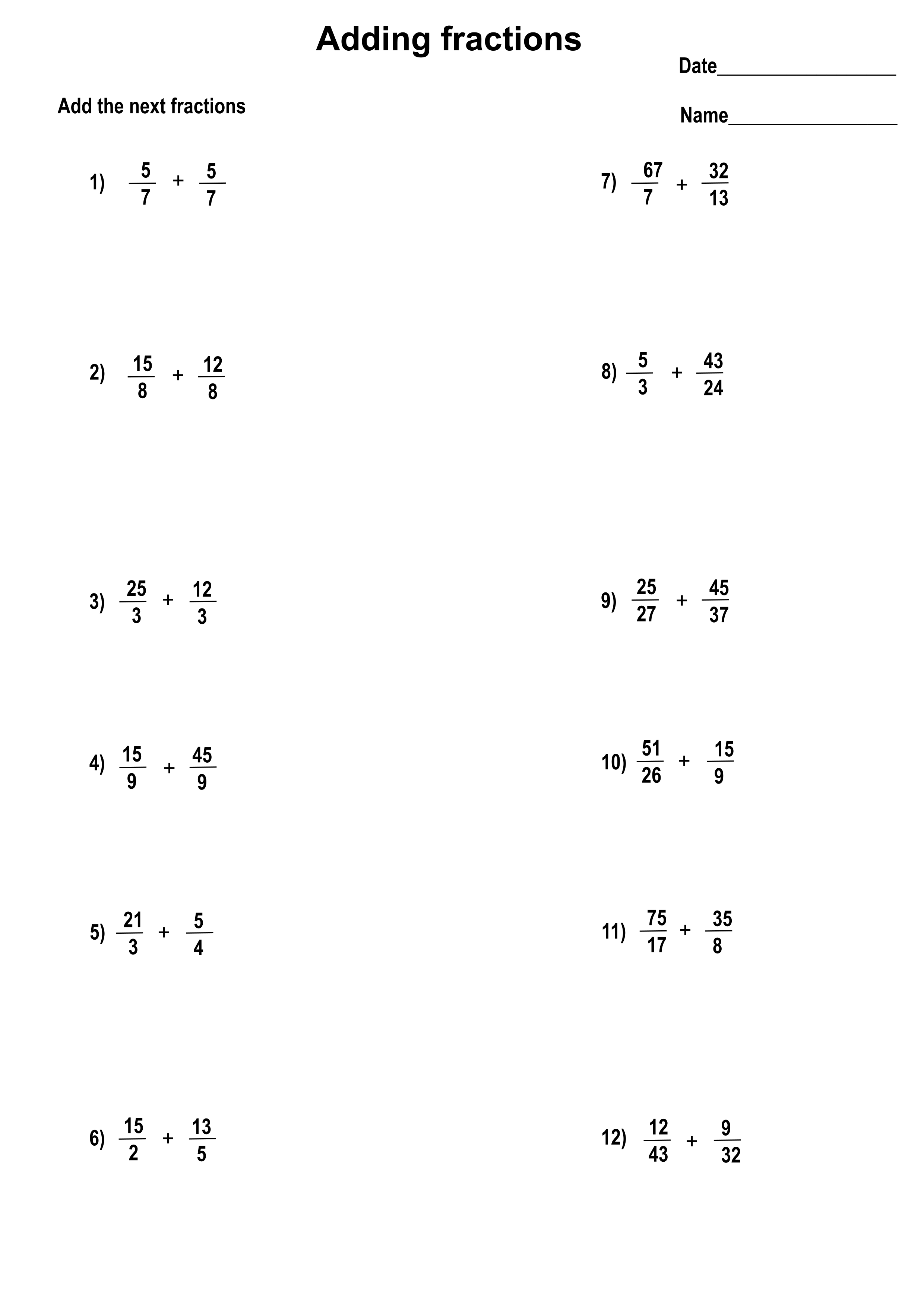Printable Addition Fractions Worksheets With Answers