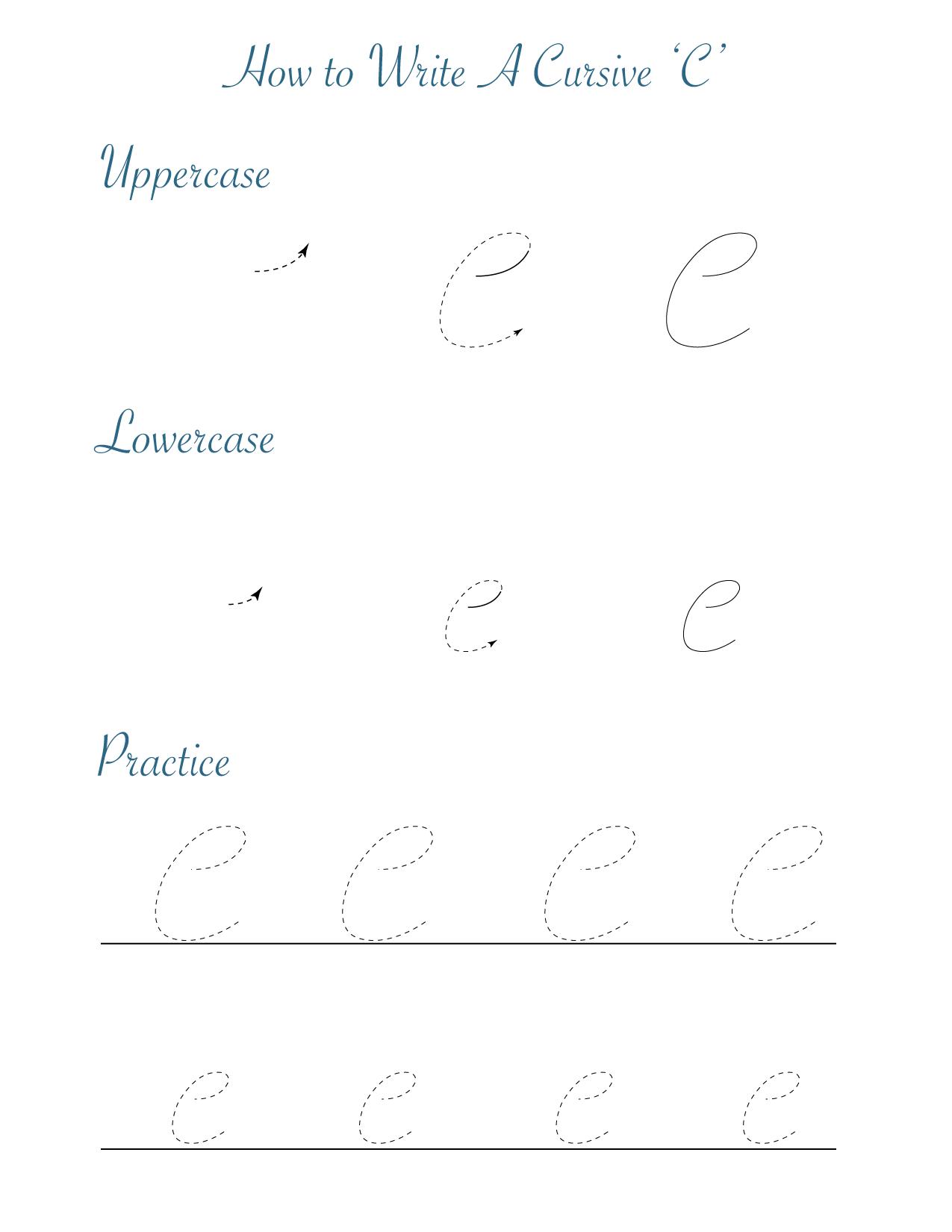 How to write a cursive 'c'