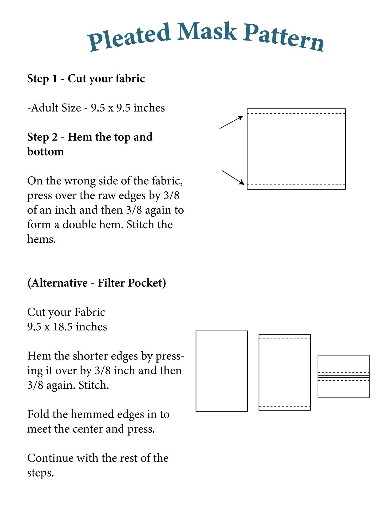 Pleated mask pattern