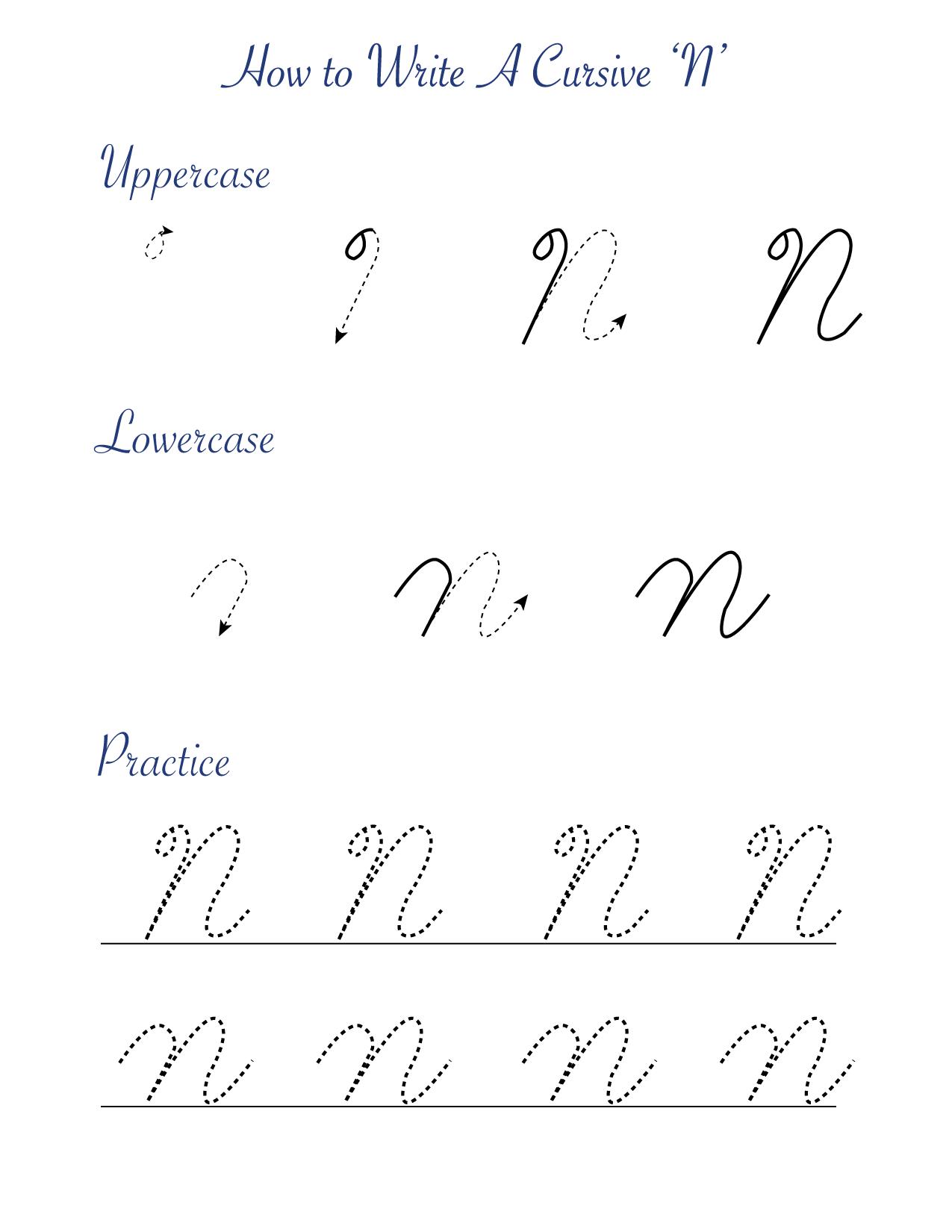 How to write a cursive 'N'