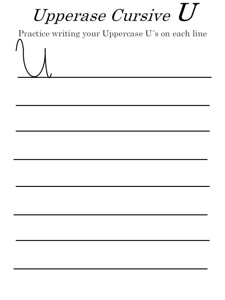 How to write a cursive 'U' uppercase worksheets