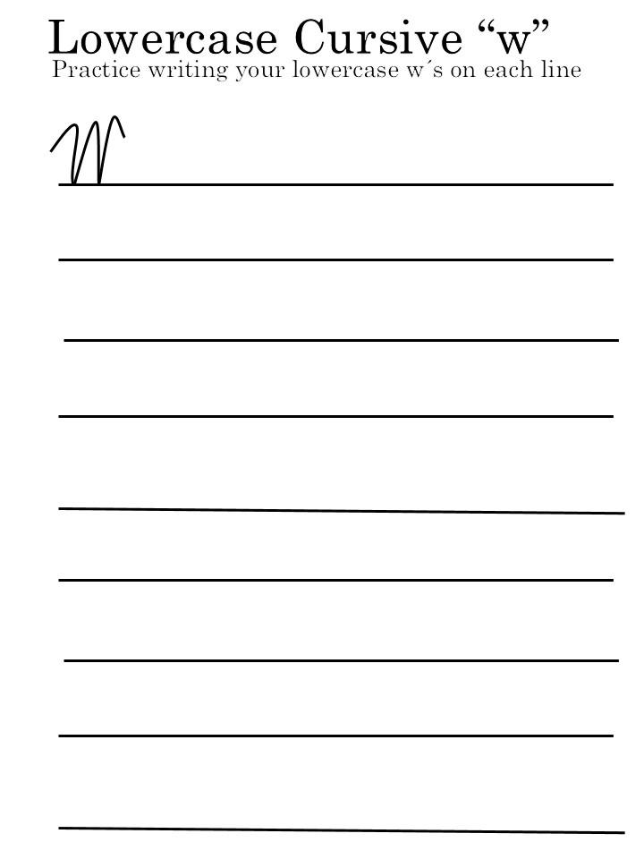 cursive letter 'W' lowercase worksheet