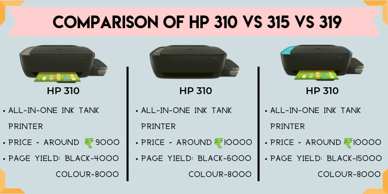 HP 310 VS 315 VS 319 Printer Comparison
