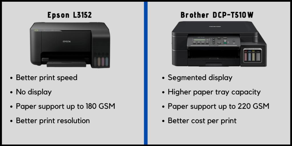 Epson L3152 vs Brother DCP-T510W Printer Comparison