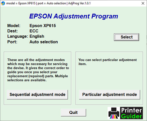 Epson XP-615 Adjustment Program