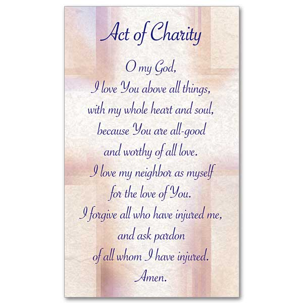 Act Of Charity Prayer Card
