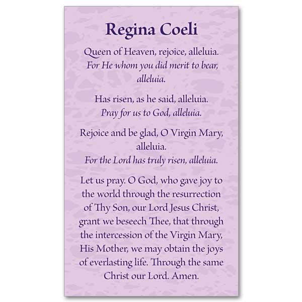 Regina Coeli Prayer Card