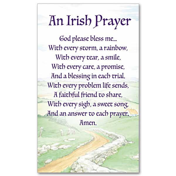 God Please Bless Me Irish Prayer Card