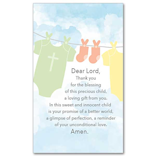 Thank You For The Blessing Of This Precious Child Prayer Card