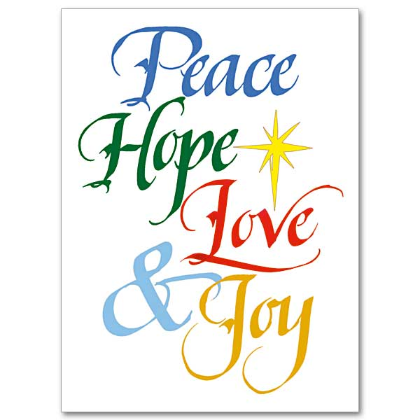 Peace Hope Love Joy Christmas Spirit Card