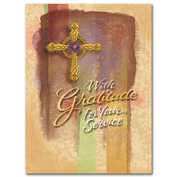 With Gratitude For Your Service Ministry Appreciation Card