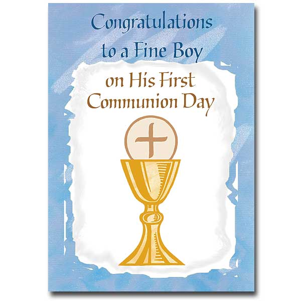 Congratulations To A Fine Boy First Communion Card Boy