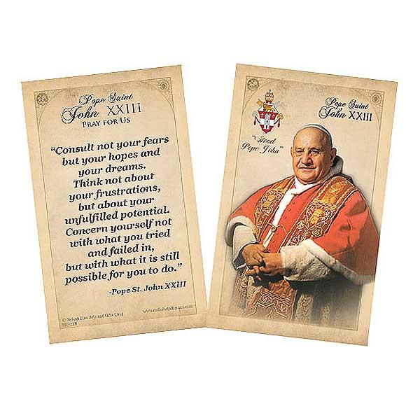Pope Saint John XXIII Commemorative Quote Holy Card