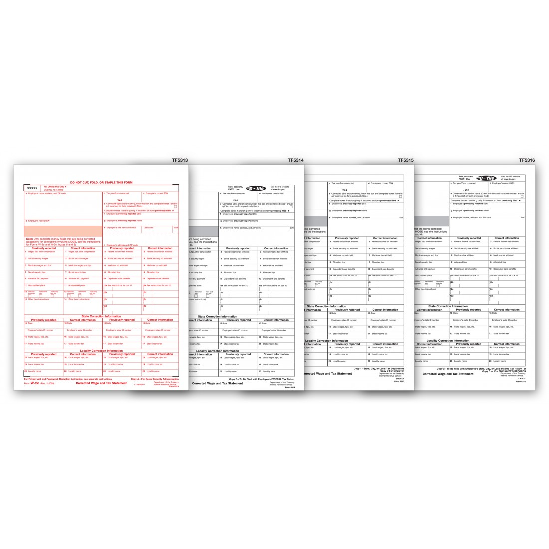 Laser W 2c Corrected Wage Amp Tax Statement Set 4 Part