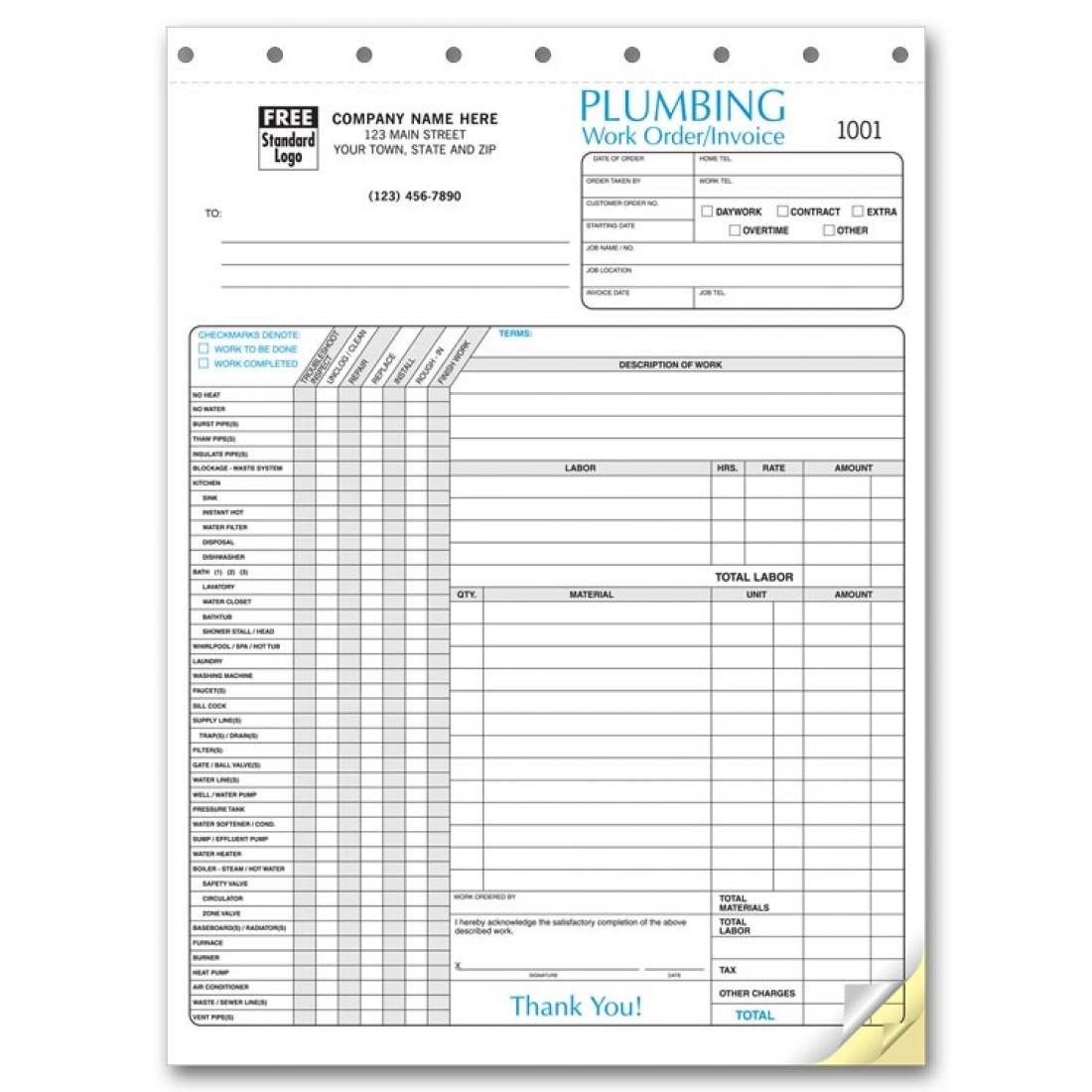 Plumbing Invoice Forms At Print Ez