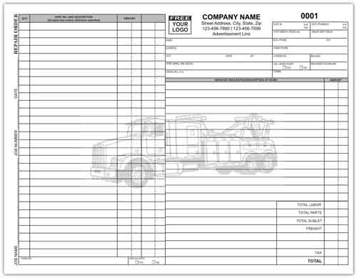 It will be important that every section is completed in this paperwork since the finished product will define what both parties must be able to agree to. Truck Repair Order Form Custom Repair Invoices Printit4less Com Printit4less